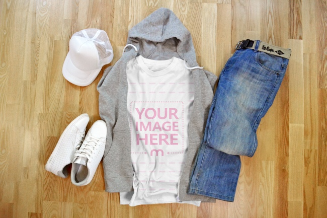T-Shirt Mockup with Jeans and Hoodie on Wood Background preview image