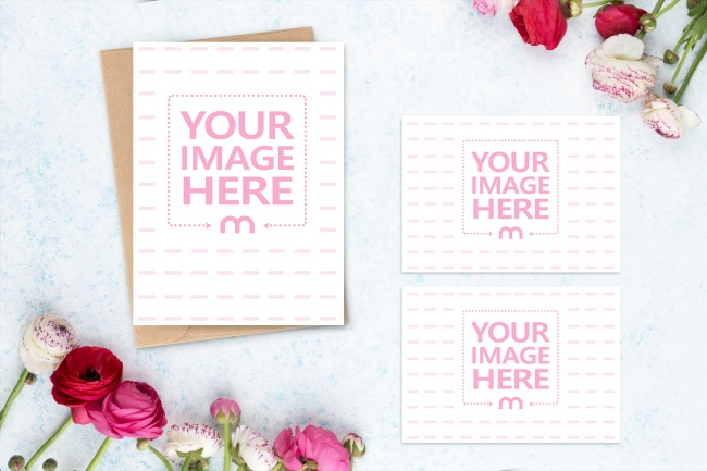 Floral Wedding Invitation with Mini Cards Mockup Generator preview image