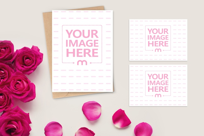 Portrait Wedding Invitation with Mini Cards Mockup Generator preview image