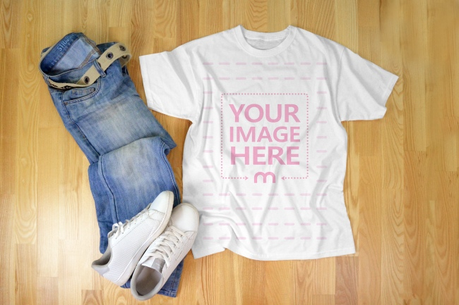 T-Shirt Mockup with Jeans and Sneakers on Wood Floor