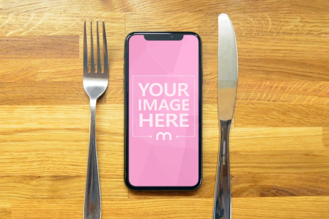 IOS Food App Website Mockup on iPhone XS preview image