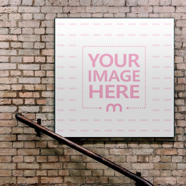 Square Advertising Sign on Brick Wall Mockup preview image