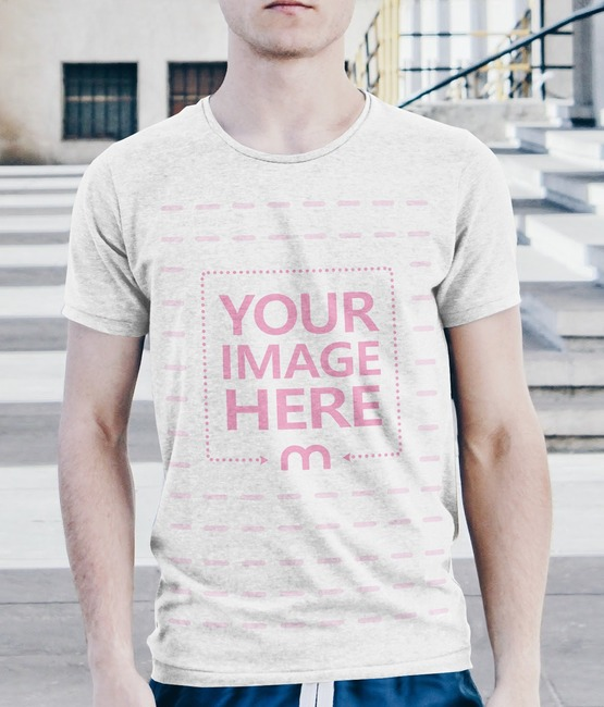 Young Man Wearing T-Shirt Outdoors Mockup Generator preview image