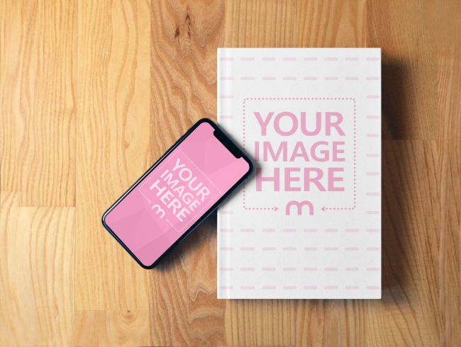 Book and iPhone X on Wood Surface Mockup preview image