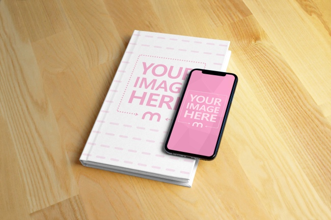 iPhone X and Hardcover Book Mockup Generator preview image