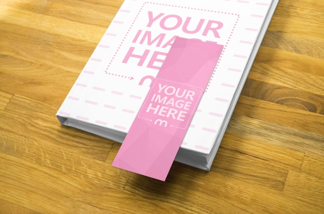 Paper Bookmark and Hardcover Book Mockup Template
