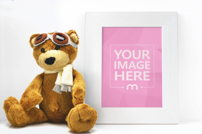 White Photo Frame with Teddy Bear Mockup Generator preview image
