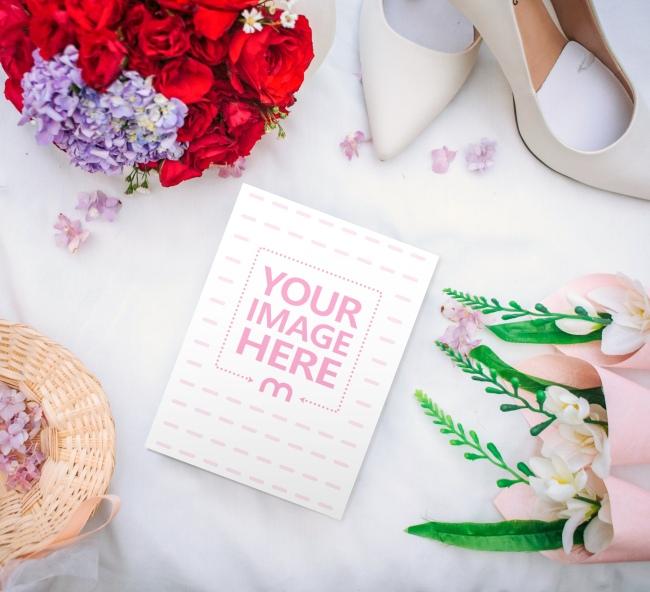 Portrait Wedding Invitation Card Mockup Generator preview image