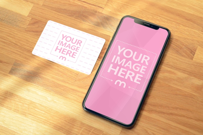 iPhone XS and Credit Card Mockup Template