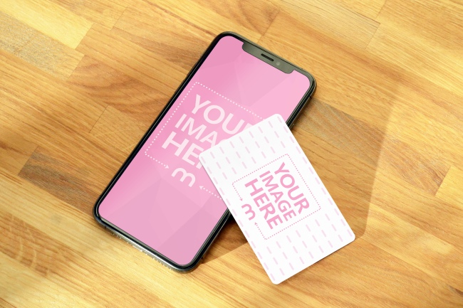 Credit Card and iPhone XS Mockup on Wood Table