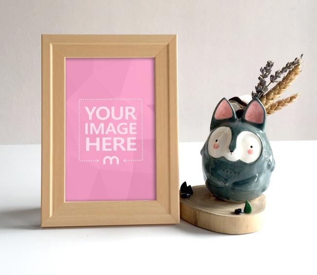 Wooden Photo Frame on Desk Mockup preview image