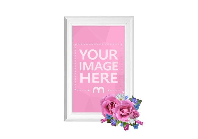 White Floral Wooden Photo Frame Mockup  preview image