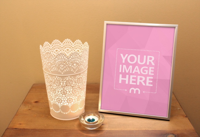 Image Frame on Desk with Candle Mockup preview image