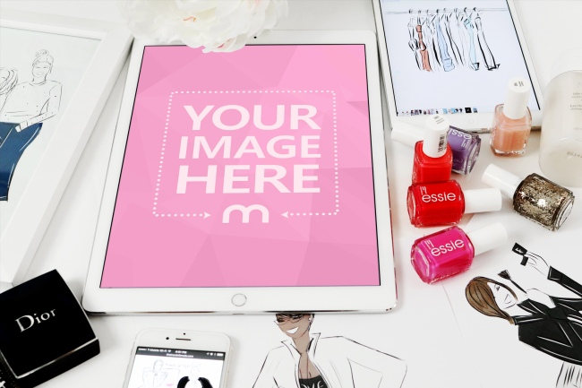 Fashion Themed White iPad Mockup Generator Template preview image