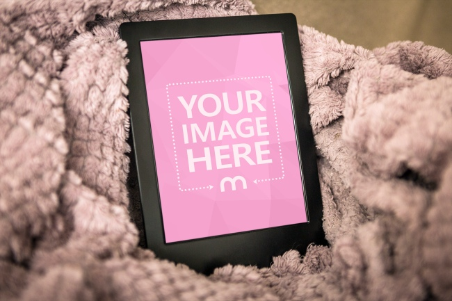 E-Book Reader in a Blanket Mockup Generator preview image