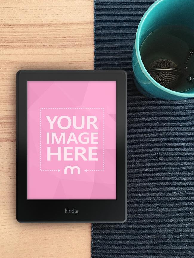 Kindle E-Book Reader on Desk Mockup Generator
