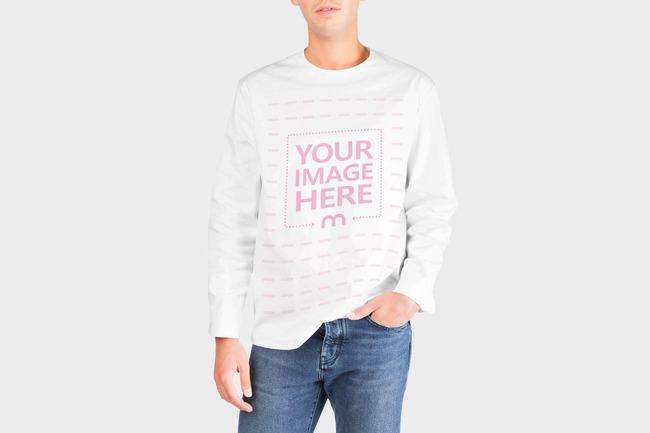 Men's Long Sleeve Sweater Mockup Generator preview image