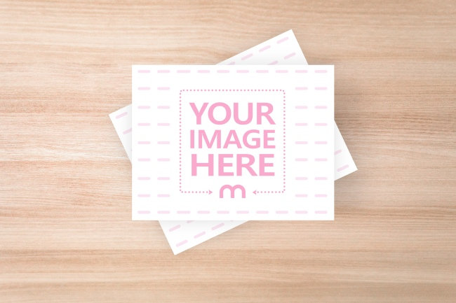Note Cards on Wood Table Mockup Generator preview image