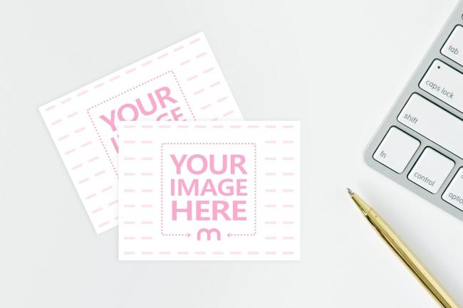 Notecards on Computer Desk Mockup Generator preview image