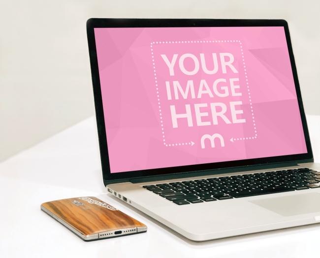 Macbook Laptop on Desk Mockup Generator preview image