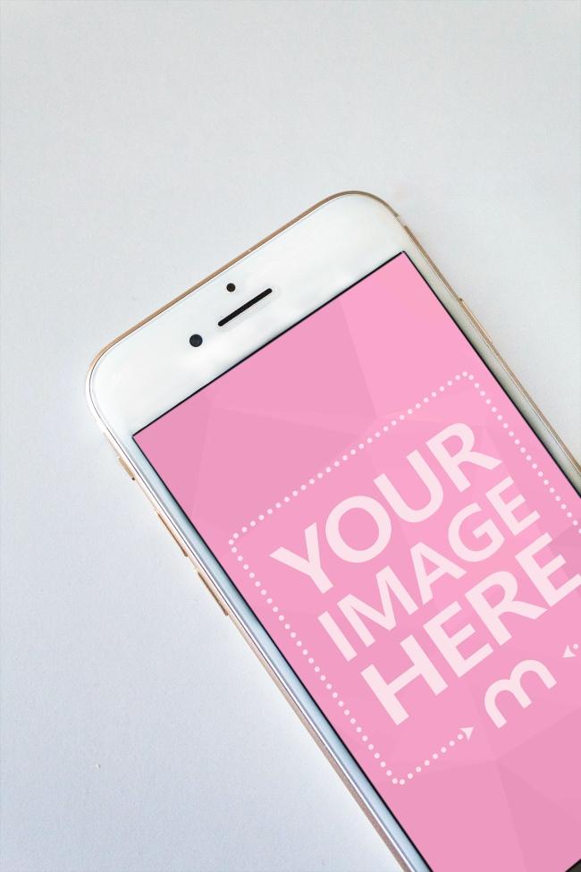 Closeup White iPhone Mockup Generator preview image