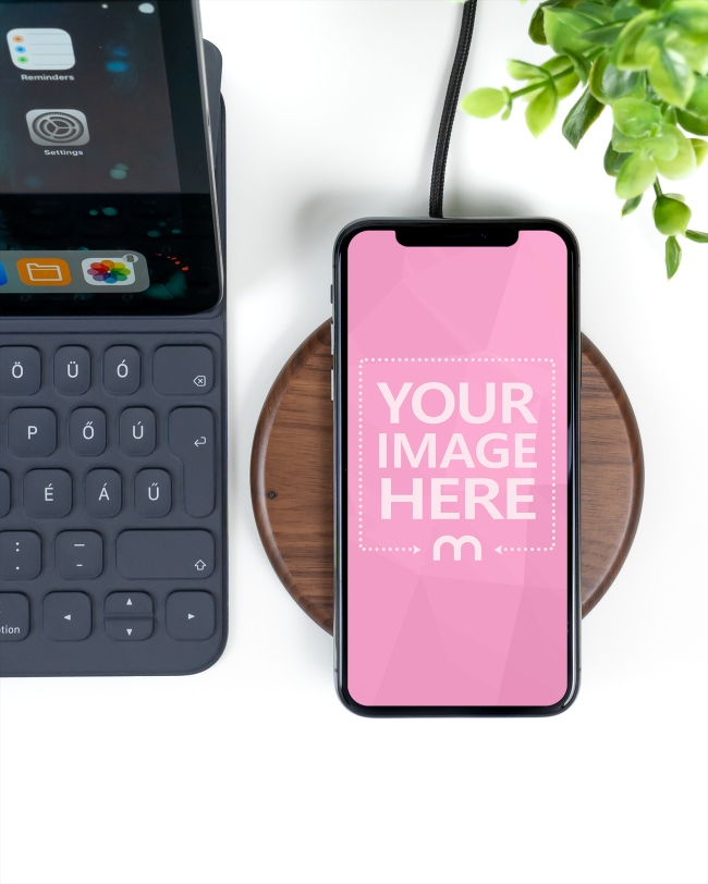 iPhone XS on Wireless Charger Mockup Generator preview image