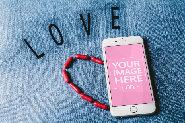 White iPhone with LOVE Letters Mockup Generator preview image