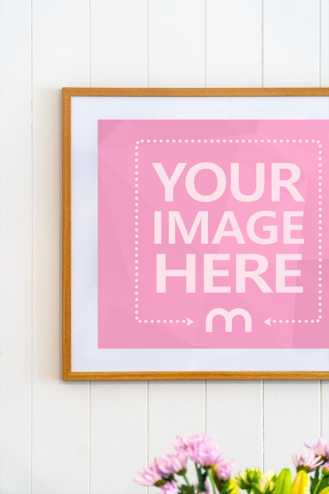 Large Wooden Frame on Home Wall Mockup Generator preview image