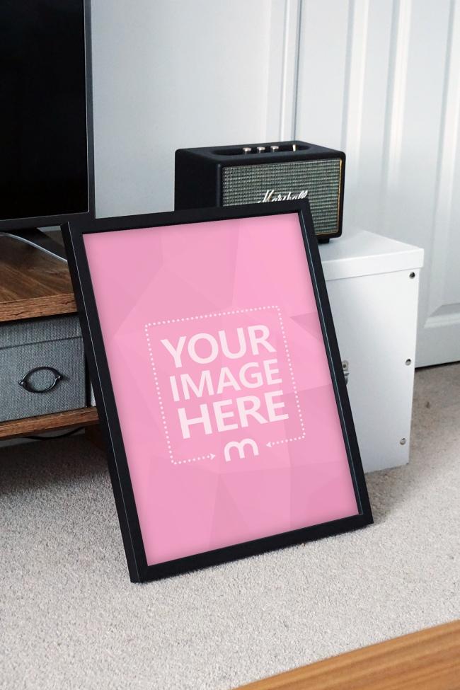 Portrait Photo Frame in Living Room Mockup Generator preview image