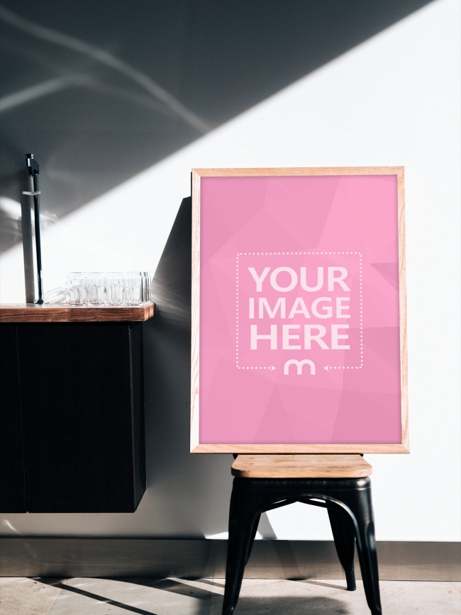 Portrait Photo Frame on Chair Mockup Generator preview image