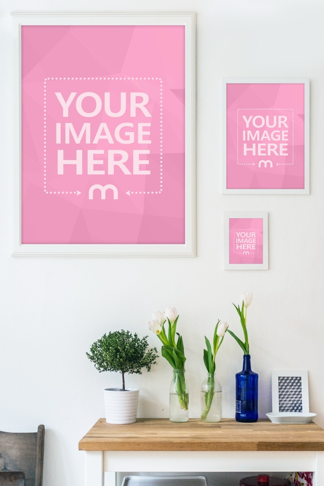 Three Image Frame on Home Wall Mockup Generator preview image