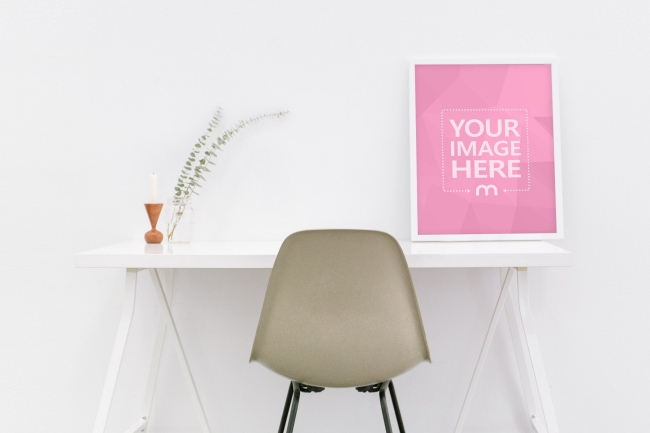 White Image Frame Standing on Desk Mockup preview image