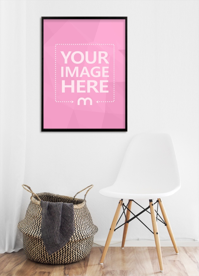 Portrait Canvas Frame on Home Wall Mockup Generator preview image