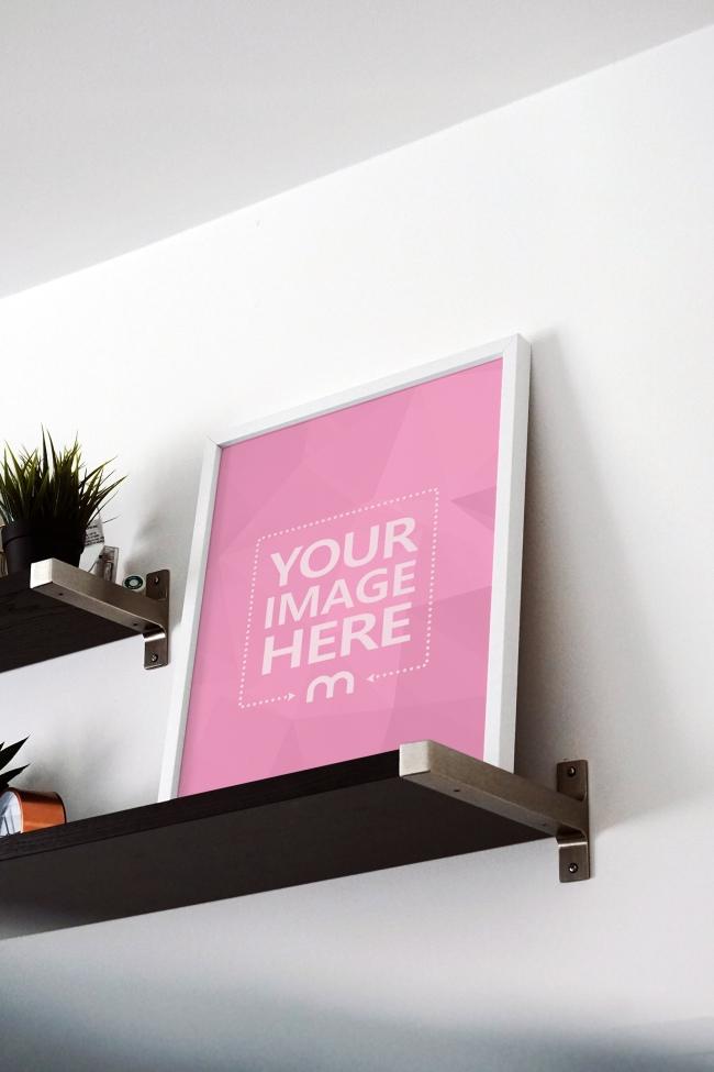 Image Frame Standing on Shelf Mockup Generator preview image