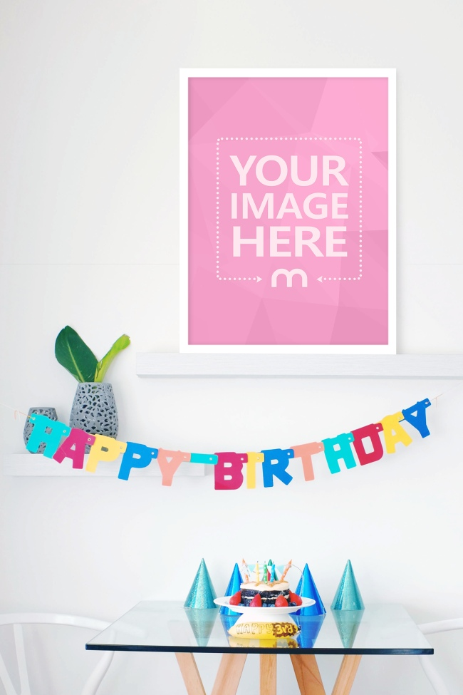 Image Frame on Wall with Birthday Decorations preview image