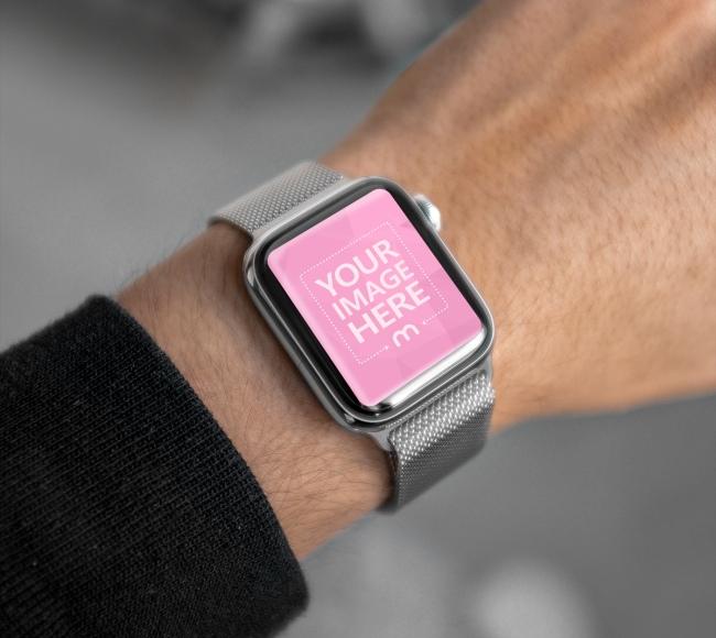 Apple Watch Closeup Screen Mockup Generator preview image