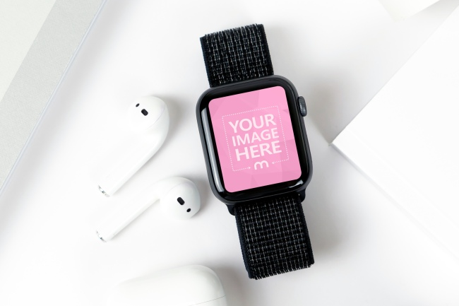 Smartwatch Next to Apple Airpods Mockup Generator preview image