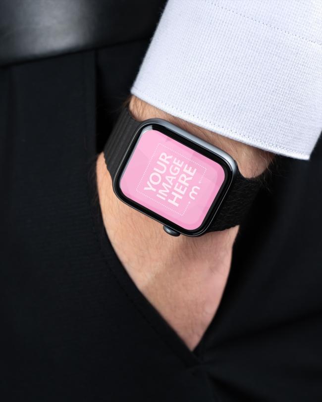 Man in Suit Wearing Apple Smartwatch Mockup Generator preview image