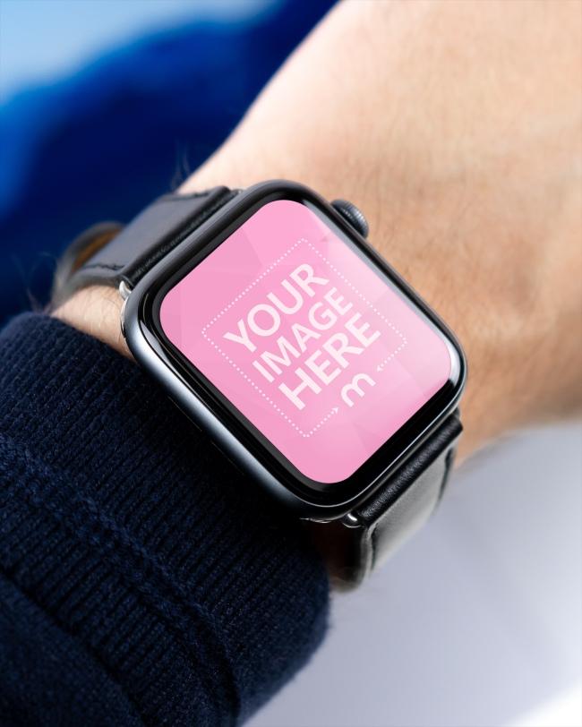 Closeup Man Wearing Apple Smartwatch Mockup Generator preview image
