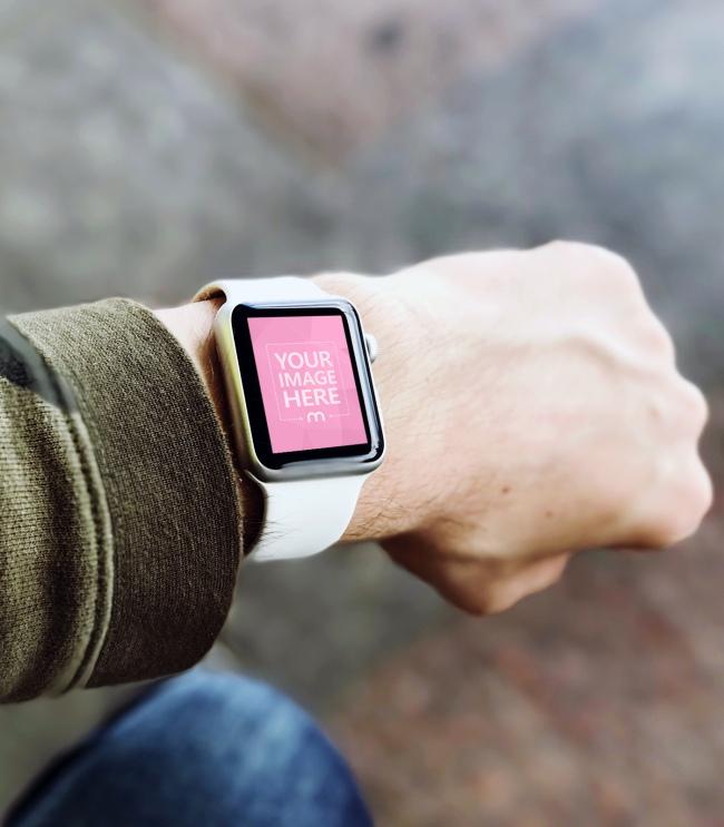 Man Wearing Smartwatch Outdoors Mockup Generator preview image