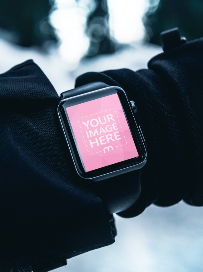 Man Wearing Smartwatch in the Winter preview image