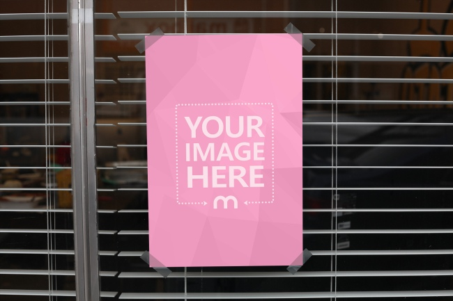 Paper Taped to a Window Mockup Template preview image