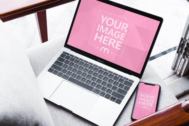 Macbook and iPhone X on Chair Mockup Generator