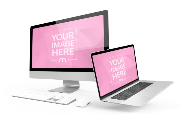 iMac and Macbook Pro 3D Mockup preview image