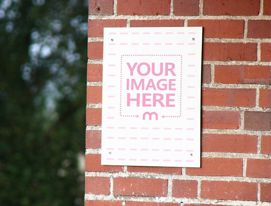 Message Sign on Brick Wall Mockup preview image