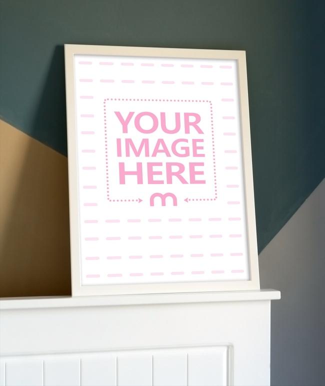 Large Photo Frame on Cabinet Mockup Generator