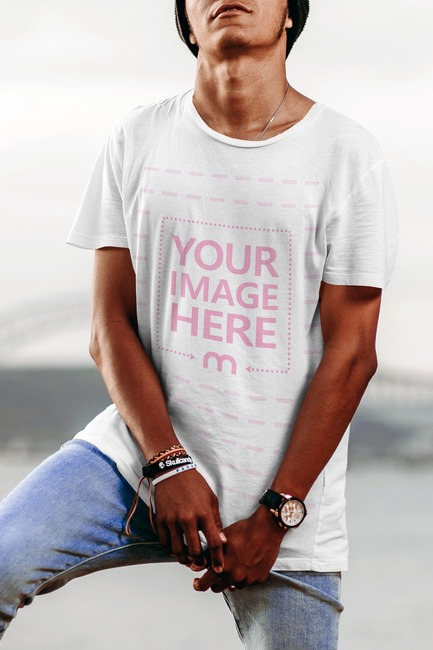 T-Shirt Mockup with Man Posing Outdoors preview image
