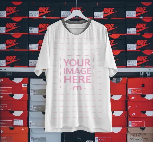 Soccer Jersey Shirt Hanging Front View Mockup Generator