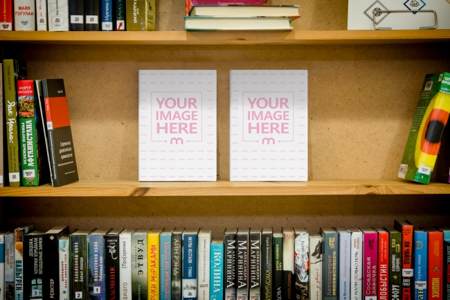 2 Books on Library Bookshelf Mockup Generator preview image