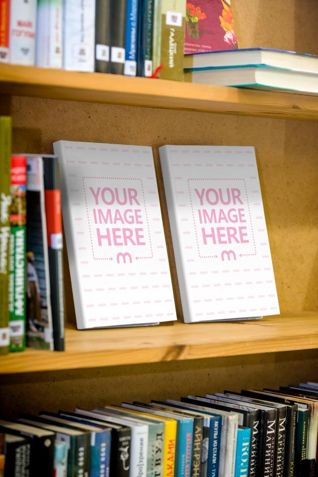 2 Books Standing on Bookshelf Mockup Generator preview image